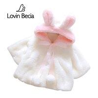 LovinBecia Baby Girl Cute Rabbit Ears Hooded Coats Baby Infant Fur Winter Keep Warm Coat Cloak