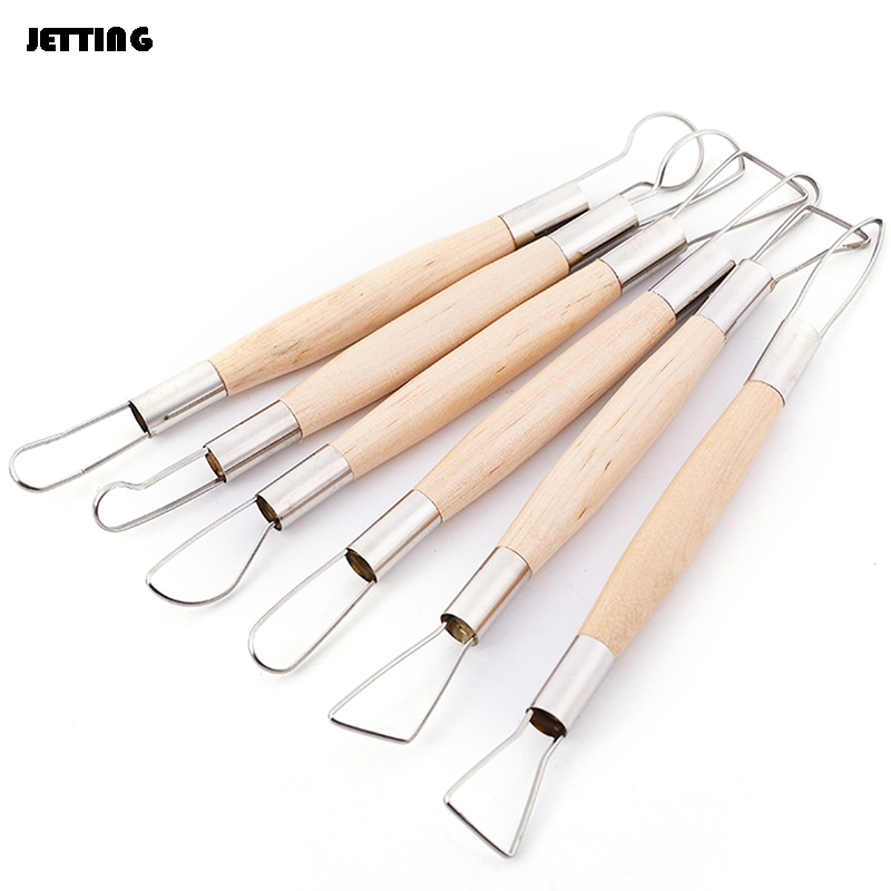 Pottery & Ceramics Tools Arts,crafts & Sewing Obedient 6pcs /lot 21cm Wooden Handle Pottery Ceramics Diy Tools Set Wood Handle Wax Pottery Clay Sculpture Carving Tool Diy Craft Set