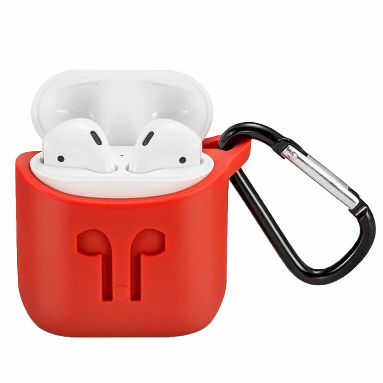 Besegad Carrying Case Capa Titular Da Pele Shell com Mosquetão Chaveiro de Silicone para A Apple AirPods Sem Fio Fone de Ouvido Fone De Ouvido