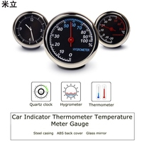 Car Styling Car Clock Thermometer Creative Mini Hygrometer Ornaments Car Quartz Clock Car Decorations
