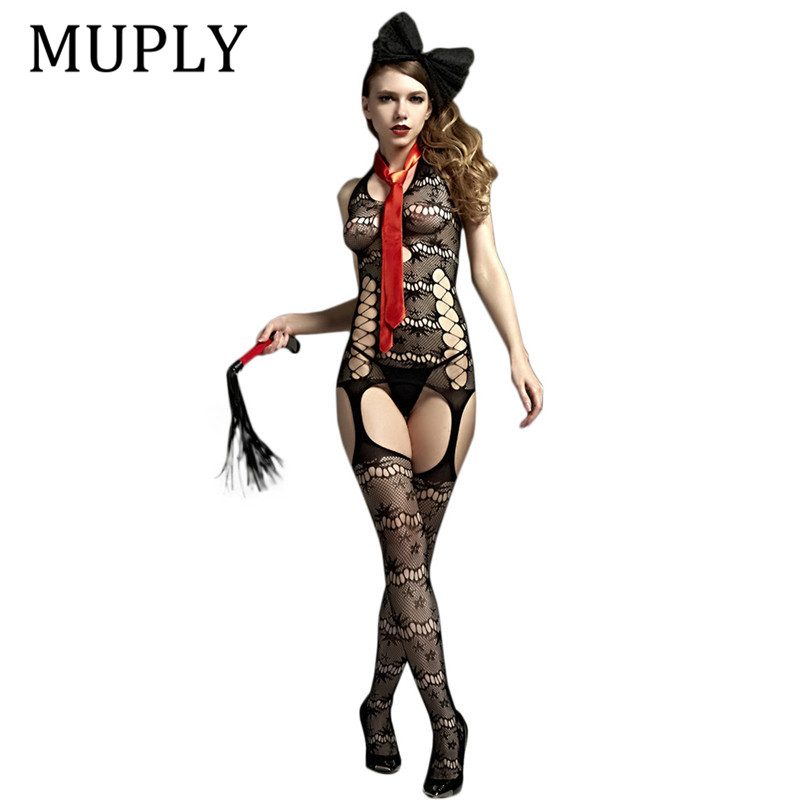 Black Open Crotch Sex Clothes Slutty Female Erotic Costumes Porn Muply Women Sexy Lingerie Fishnet Body Stocking Dress Body Suit