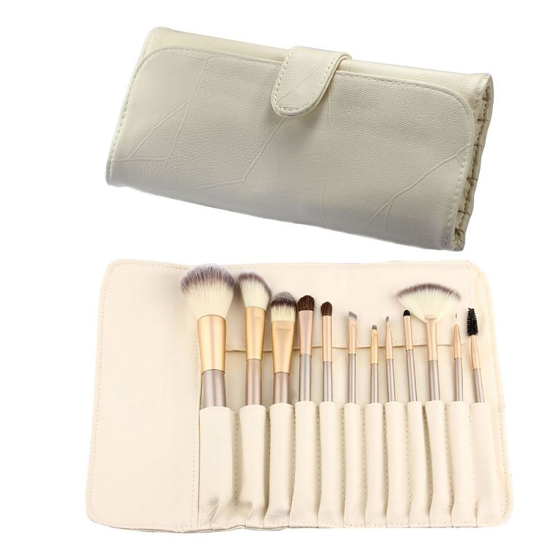 Nuevo Pro Cepillos Cosméticos Set De Madera Material de Tallos Brushe Maquillaje Powder Foundation Blush Delineador de Ojos Cepillo de Pelo de Caballo 12/18 Pcs PY2