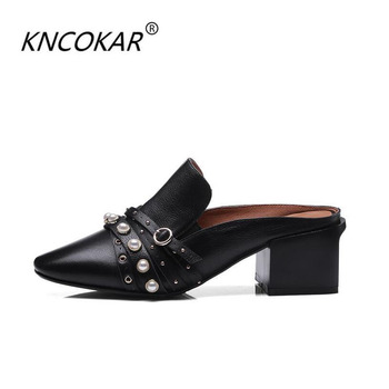 Slippers girl summer fashionable outside wear 2018 new spring lazy person shoe thick heel with 100 tie real leather cool drag