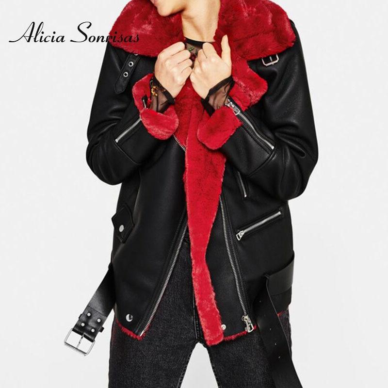 Новинка, зимнее пальто из искусственной овчины, 2018, Женская искусственная кожа, красная овчина, мотоциклетная Толстая замшевая куртка, женские пальто из флока