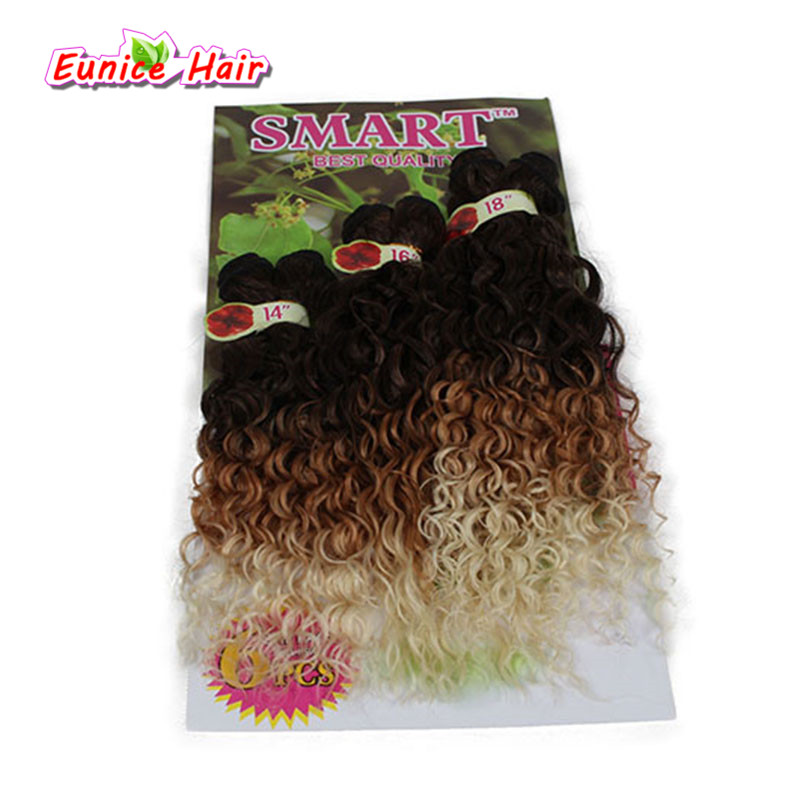 Synthetic Hair Weaving Ombre Black Bug Purple Color Weft Hair Curly Synthetic Hair Extensions for full head 6pcs/lot 14 16 18inc