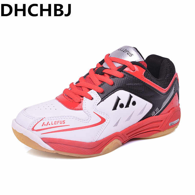 2019 Table Tennis Shoes for Kid Children Girls Boys Badminton Shoes Rubber Brand Leather Badminton Sneakers Indoor Sport Shoes