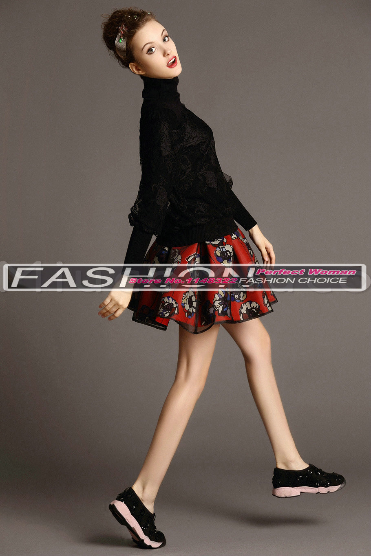 Новинка, весенний костюм с юбкой с принтом, Шелковый свитер с высоким воротом+ юбка с принтом, костюмы