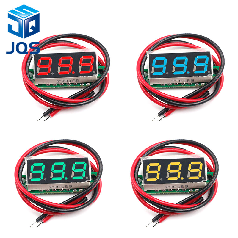 0.28 Inch DC 12V 24V Mini LED Digital Voltmeter Voltage Meter Panel Volt Tester Detector Monitor 2 Wire Red Green Blue Yellow