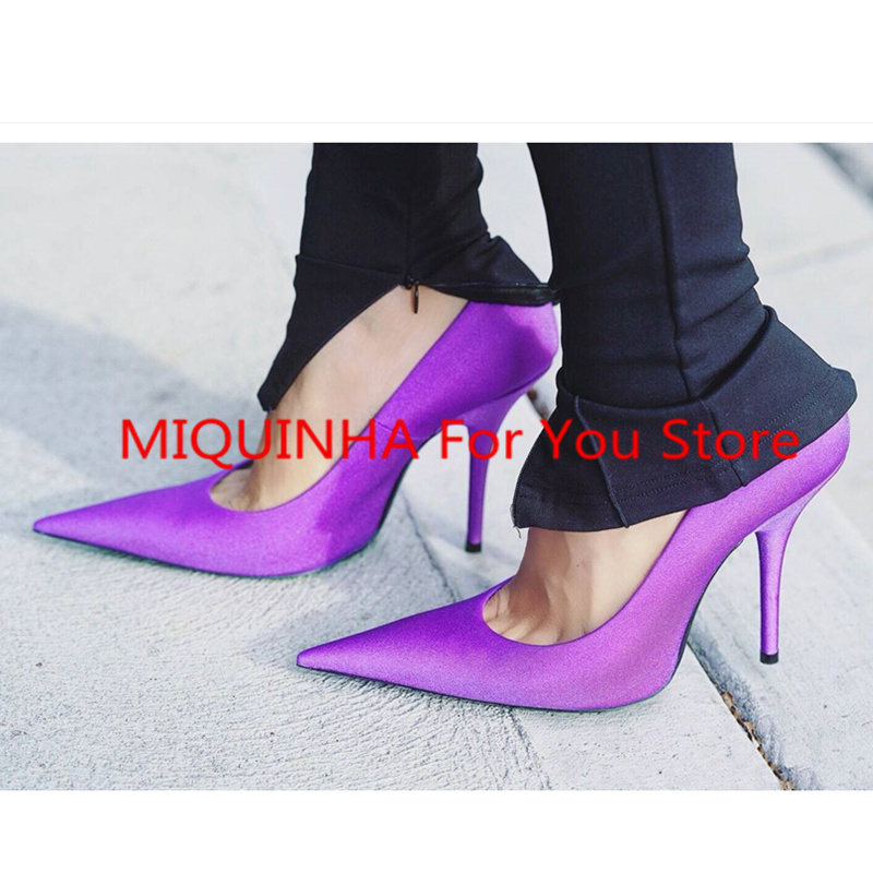 MIQUINHA New Pointed Toe Women Pumps High Thin Heel Luxury Brand Super Star Runway Shoes Wedding Party Bridal Pumps Satin Shoes doratasia denim eourpean style big size 33 43 pointed toe women shoes sexy thin high heel brand design lady pumps party wedding