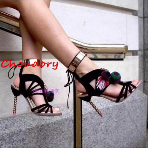 Choudory 2017 Design Cutouts Lace Up Sexy Summer Shoes Woman Fringe Fashion Beading Heel Gladiators Sandals Female Black Silver 3mbi50sx 120 02 special offer seckill consumer protection of business integrity quality assurance 100