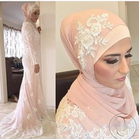 Mermaid High Neck Long Sleeves Lace Appliques White Lace Appliques Islamic Dubai Abaya Kaftan Hajib Muslim Evening Dresses