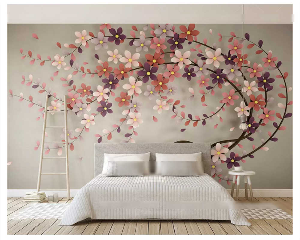 Beibehang Fashion Personality New Wallpaper Rose Gold Flower
