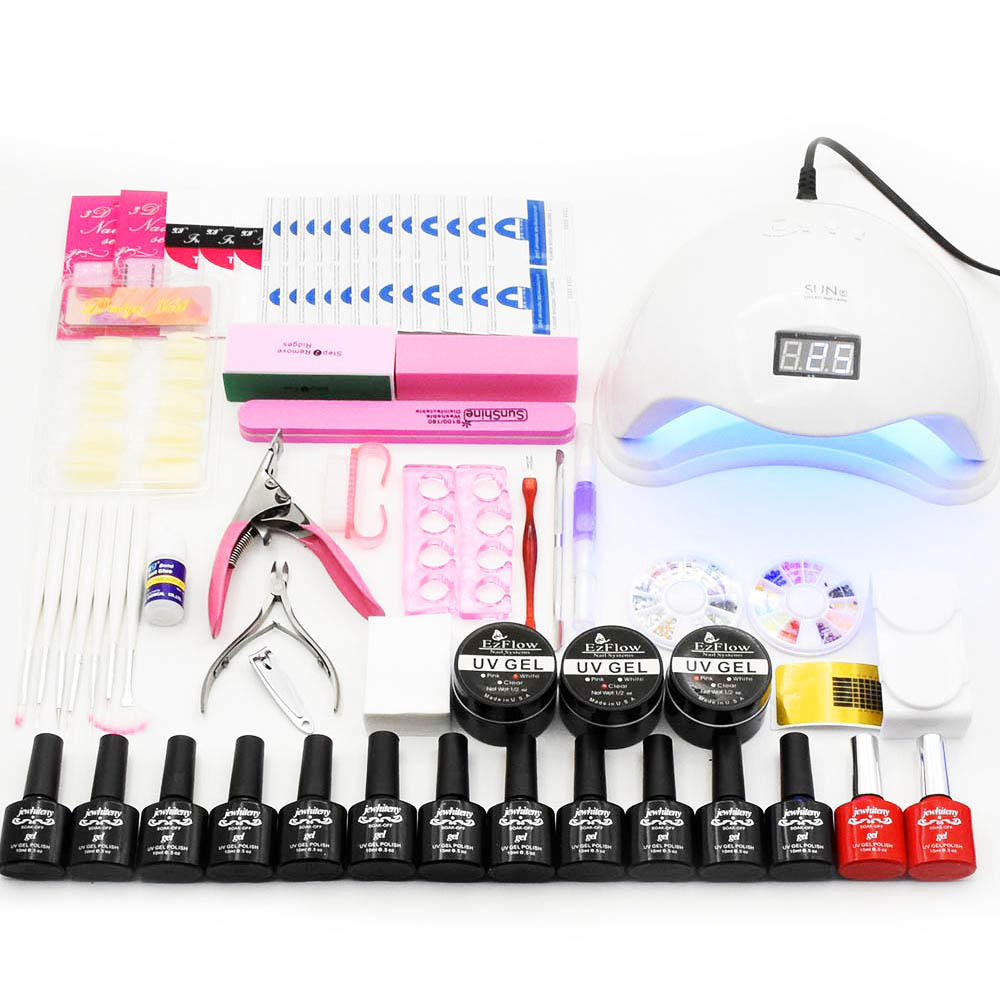 Nail Set Gel Nail Polish Kit 48W/36W UV LED Lamp Dryer 12pcs Nail Gel Polish Manicure Tools Set UV Extension Kit Nail Art Tools full uv gel nail art nail polish 36w nail uv lamp dryer tools eu plug set