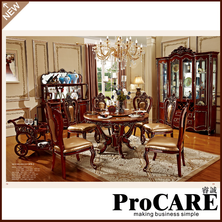 New classical dining room furniture wooden carving dinning kitchen table chair sets muebles marble mesa de jantar sillas comedor