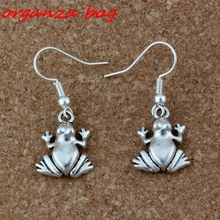 Hot ! 20 pair Antique silver Frog Charms Earrings With Fish hook Ear Wire  A-211e