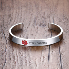 Type 1 Diabetes Medical alert Bracelet for Men Women ID Cuff Bangle Stainless Steel Personalized Free Engrave