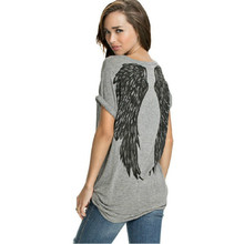 Women Sweet Angel Wings Print T Shirt Short Sleeve O-neck Summer Fashion Tees