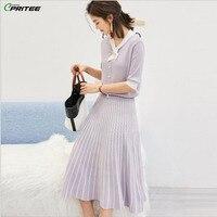 Knitted Ice Silk Top And Skirt Peter Pan Collar Sweater Skirt Set Survetement Femme 2 Piece Striped Women's Summer Suit