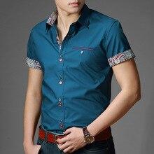 Горяч-продавая тонкой стильный покроя свободного коротким рубашка рубашки лето мужские рукавом