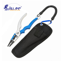 iLure New Aluminum Alloy Fishing Pliers Split Ring Cutters Fishing Holder Tackle Sheath Retractable Tether Combo Hooks Remover