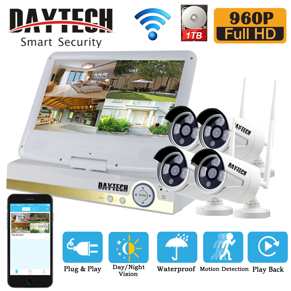 DAYTECH Security Camera System Wireless IP WiFi NVR Surveillance Kit 1TB 4CH 960P CCTV IR Night Vision 10.1 LCD Monitor bear leader girls skirt sets 2018 new autumn
