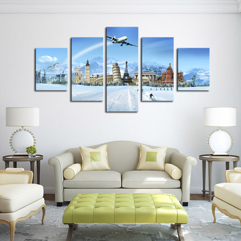 aliexpresscom buy unframed 5 panels the world famous buildings print painting modern canvas wall art for wall decor home decoration artwork from reliable - Canvas Wall Decor