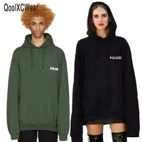 2016 Sweatshirt Oversized Green Polizei 16ss Embroidered Hoodie With Letters Men Women Hiphop Hoodies Streetwear Urban