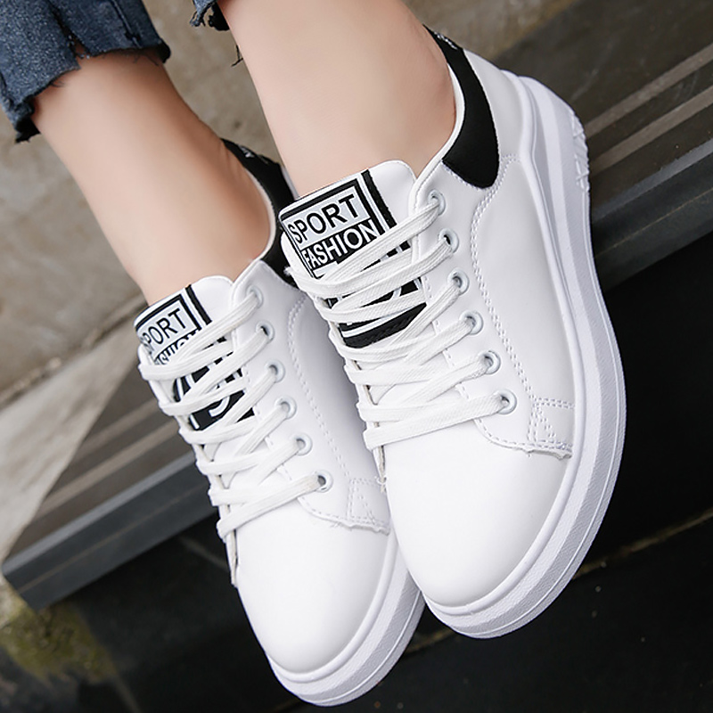 Women sneakers adult leather shoes trainers fashion solid sewing white shoes vulcanize cotton fabric female shoes size 34-39