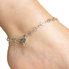 Fashion Antique Silver Metal Flower And Heart Charm Anklet For Women Adjustable Bohemian Chain Bracelet De