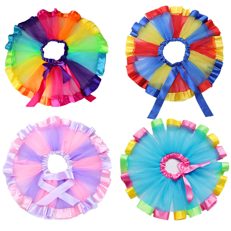 New Born Infant Baby Kids Girl Clothes Rainbow Tutu Skirt Pink Tutus for Girls Ballet Dance Party Pettiskirt Baby kawaii clothes new children professional black ballet tutus blue ballet adult ballet dance clothes girl puff dress costume tutu dress women