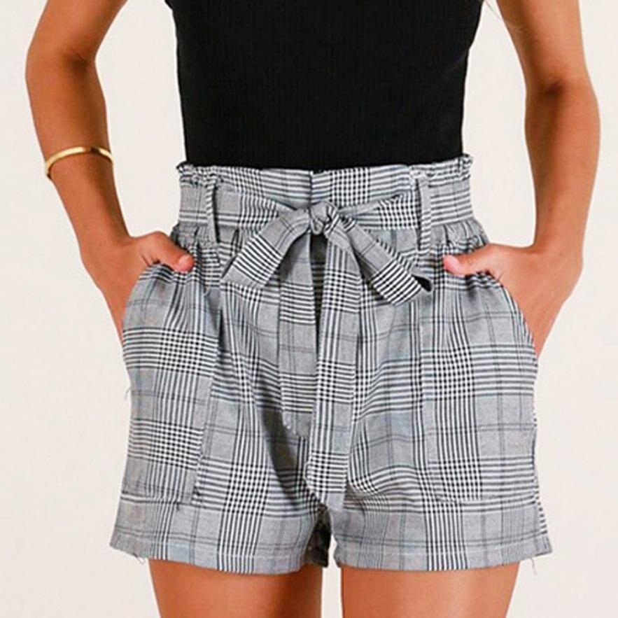 Sexy Women   Shorts   Stripe Pocket Loose Hot   Short   Lady Summer daily   Shorts   Trouser Elastic Waist Denim   Short   Feminino Cintura Alta