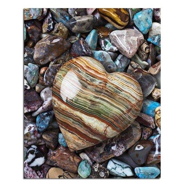 Peinture Sur Pierre 3 d bricolage diamant broderie en forme de coeur pierre plein