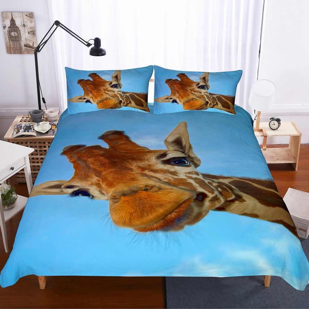 3D Printed Cute Giraffe Staring You Bedspread Blue 3 Piece Kids Duvet Cover Set with 2 Pillowcase Girls/Boys Microfiber Bed Set