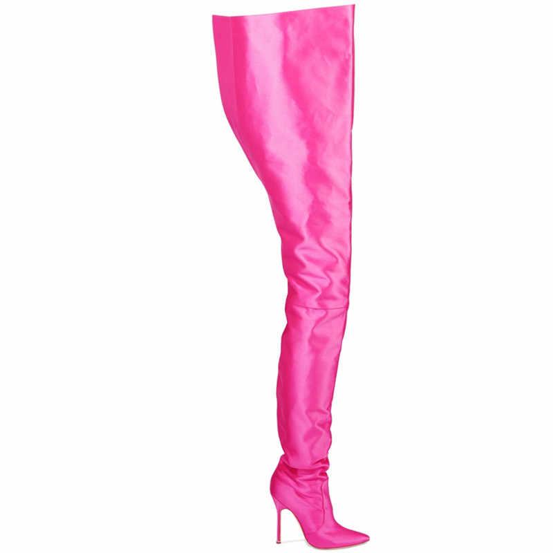 Mstacchi Người Phụ Nữ Cực Chất Dài Giày Cao Huỳnh Quang Màu Co Giãn Satin Mỏng Giày Cao Gót Mũi Nhọn Giai Đoạn Dài Giày Boots