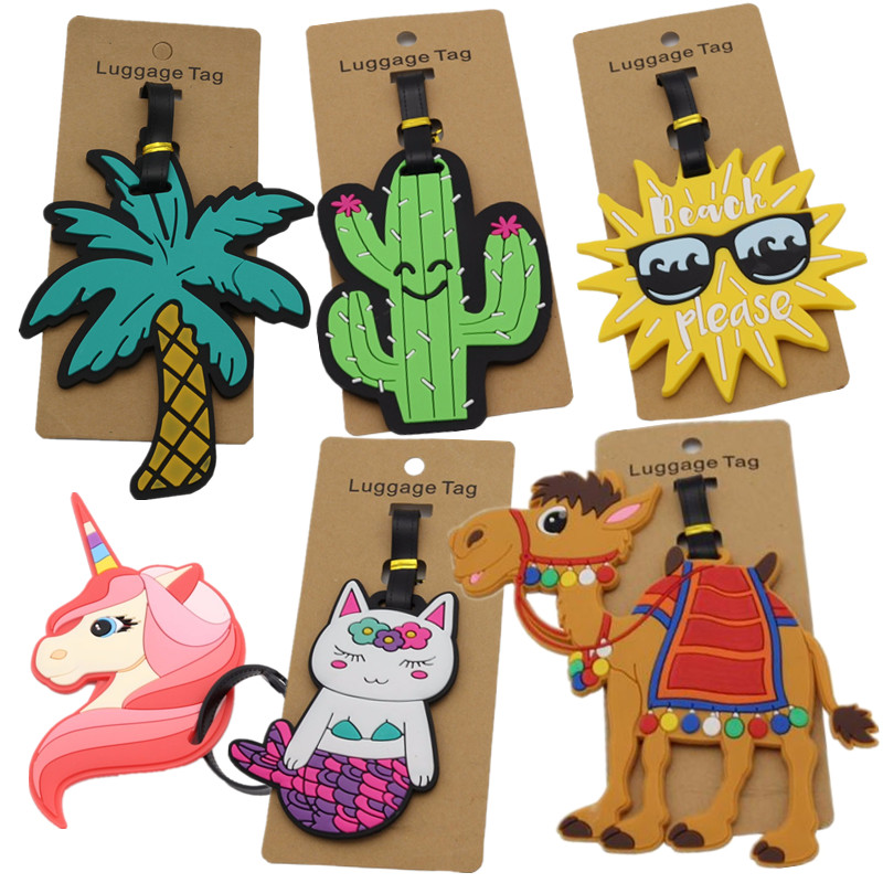 Luggage-Tag Label Suitcase Address-Holder Travel-Accessories Mermaid-Unicorn Coconut-Tree-Id