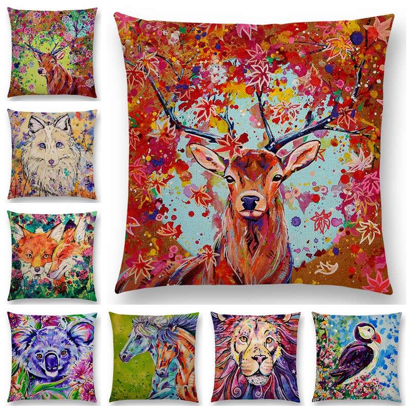 Oil Painting Animals ELK Cushion Cover Deer Lion Dogs Fox Bird Horse Sofa Throw Pillow Case