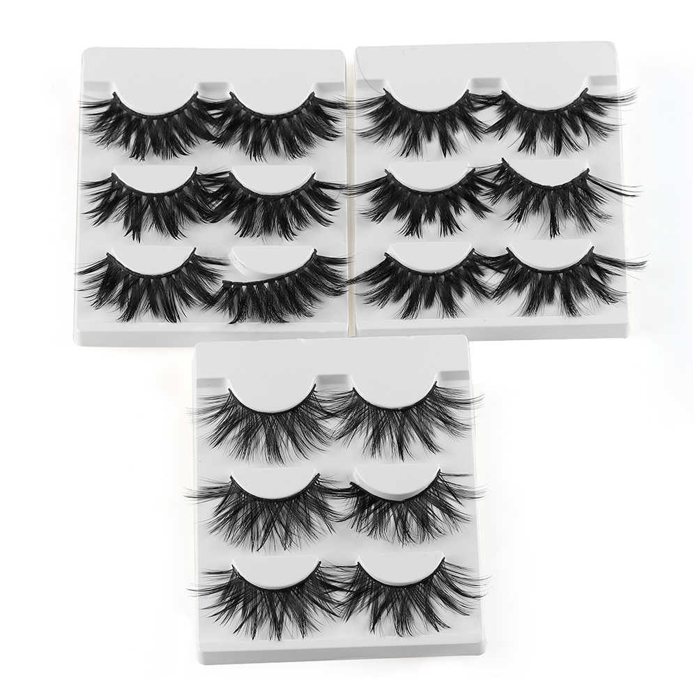 a54fb15ea06 ... 3/5 Pairs 25mm Lashes 3D Faux Mink Hair False Eyelashes Thick Long  Wispy Fluffy ...