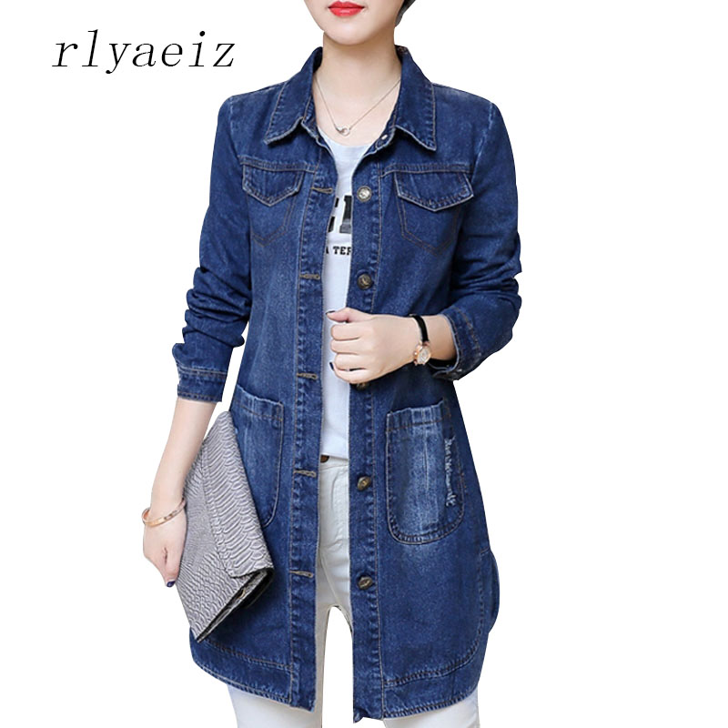 RLYAEIZ Plus Size 5XL Mid-Long Denim Jacket Women 2017 New Spring Autumn Fashion Letter Printed Frayed Long Sleeve Jackets Coats