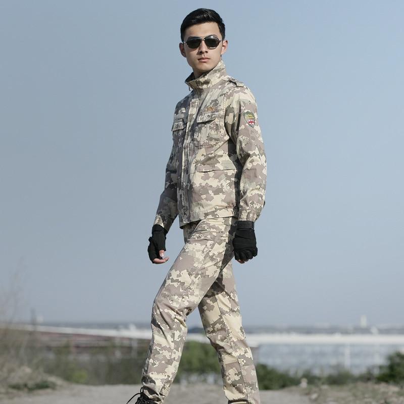 High Quality Men Army Beige Tactical Military Uniform Camouflage Combat Jacket+ Combat pant Special Forces ACU Uniforms Man Coat - 4
