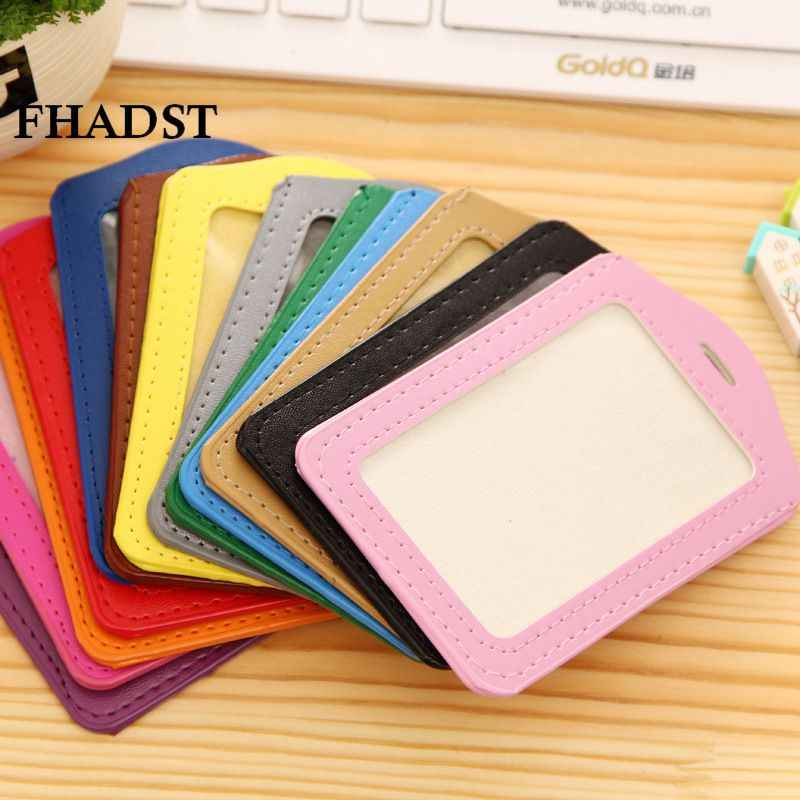 FHADST  Bank Credit Card Holders women men PU Leather Neck Strap Bus ID No Zipper holders candy color Identity badge wholesale