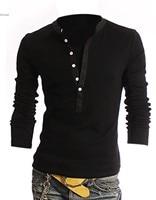 New Spring Autumn Fashion Mens Slim V-callor Faux 2pcs Long Sleeve T Shirt M/L/XL/XXL 3 Colors 51