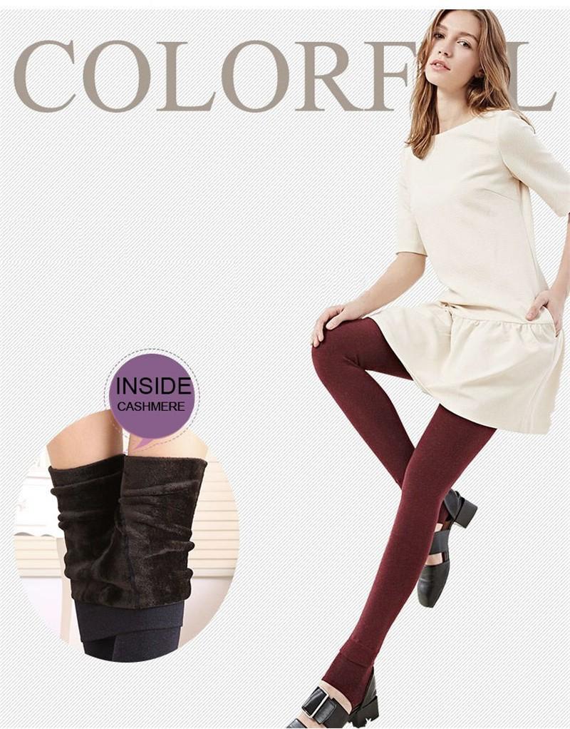 NORMOV Women's Winter Plus Cashmere Leggings Fashion Big Size Warm Super Elastic Faux Velvet Winter Thick Slim Leggings 6