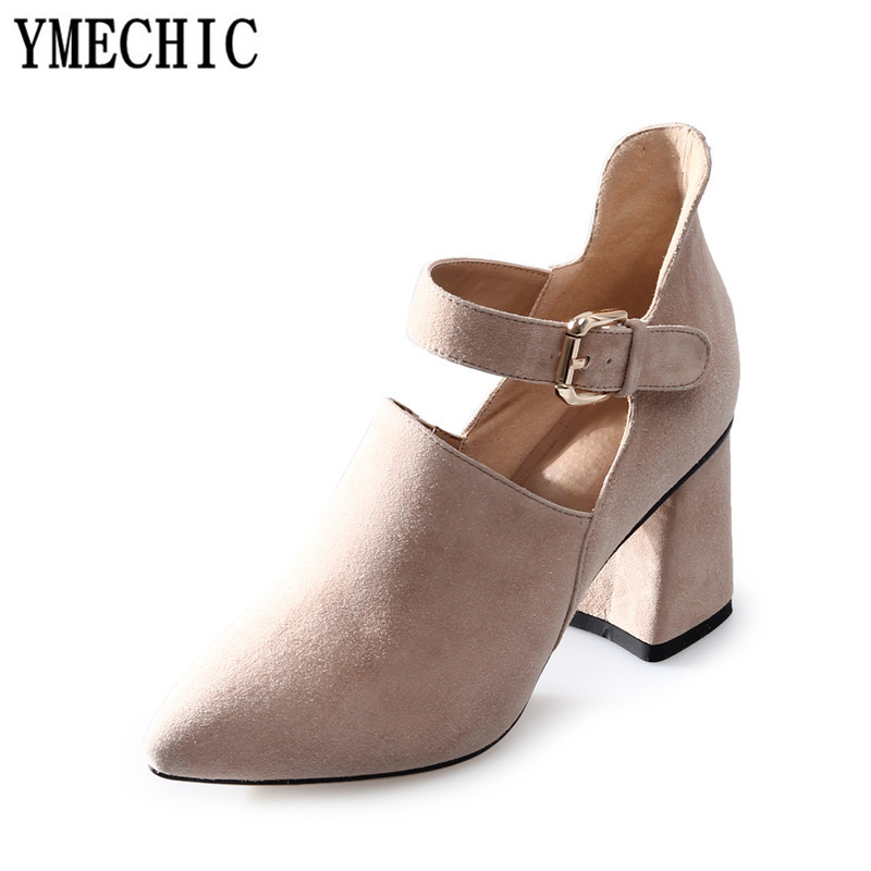 YMECHIC Ladies Buckle Strap Mary Jane High Heels Shoes Pink Black Nude Party Casual Pumps Suede