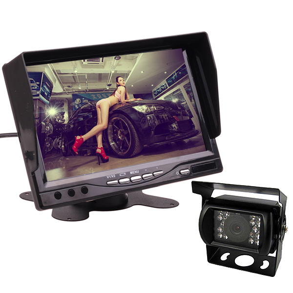 Dashboard Stand Alone 12V 24V 7 Inch HD LCD Parking Monitor Reverse Rear View Camera Kit Combo for Car Truck Bus Home CCTV free shipping 4 3 lcd monitor car rear view kit 1ch auto parking system for truck bus school bus dc 12v input rear view camera