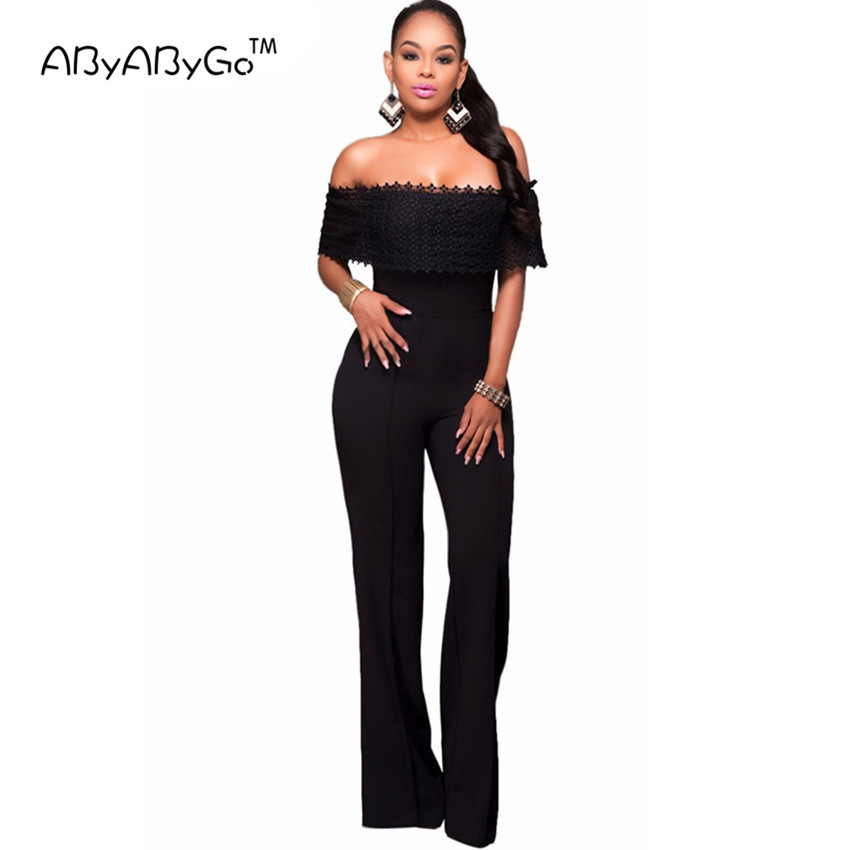 Abyabygo 2017 Hot Sale Rompers Womens Jumpsuit Sexy Black -5934