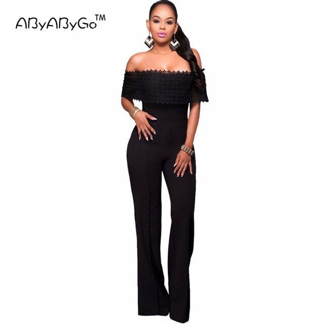 453906de6 ABYABYGO 2017 Hot Sale Rompers Womens Jumpsuit Sexy Black White Lace Elegant  Off Shouder Bodysuit For Women Outfits Long Pants