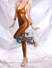 Crazy club Sexy customize women casual clothing Fancy brown latex rubber catsuit sexy bodysuits gummi Sale