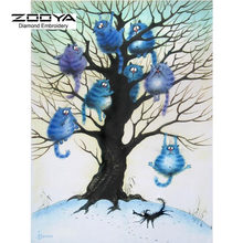 New 5D DIY Needlework Diamond Embroidery Diamond Painting Cross Stitch Blue Cat Family In A Tree Full Drill Paintings BJ252(China)