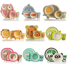 Lekoch 5pc/set Baby Dishes Bowl Cup Plates Sets Bamboo Fiber Cute Cartoon Feeding Toddler Tableware Children Dinnerware Set baby dishes bowl cup plates sets bamboo fiber children fractional dinnerware set kids tableware fork feeding set food container