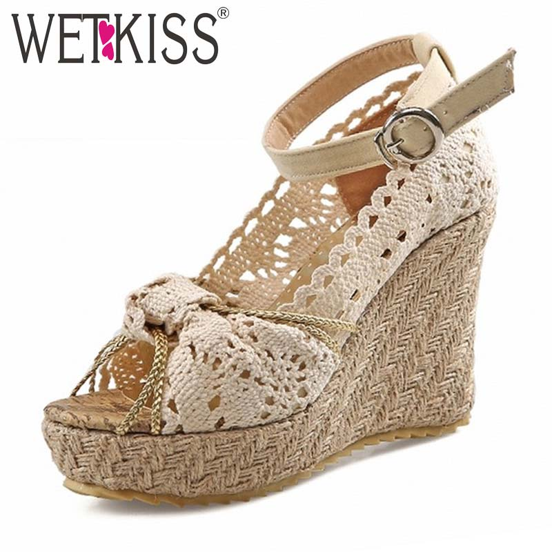 ФОТО WETKISS 4 Colors Sexy Peep toe Cutouts Women's Sandals Ankle Strap Wedges High Heels Sandals Platform Summer Shoes 2 Styles